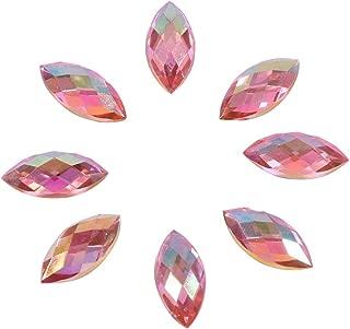 Yosoo 500Pcs in Bulk 7X15mm Crystal AB Acrylic Flatback Rhinestones Eye Shaped Diamond Beads for DIY Crafts Handicrafts Clothes Bag Shoes Wholesale, Pink AB