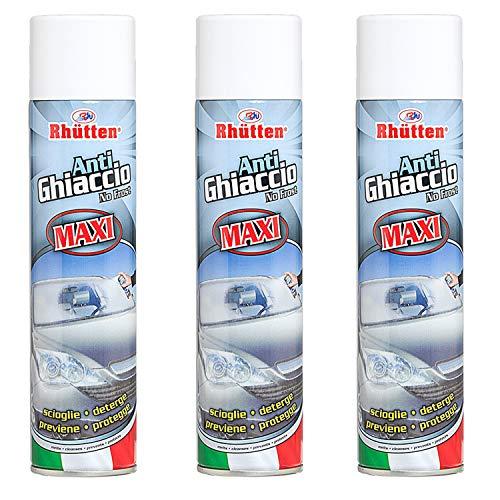 Rhutten 3X Spray Auto Antighiaccio Parabrezza Antigelo Deghiacciante 400ml, Maxi Formato, Adatto per Ogni Genere di Vetro, Facile da Utilizzare, Scioglie Deterge Previene Protegge (3 Pezzi)