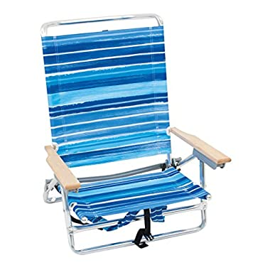 RIO Gear Rio Brands 5 Position Classic Lay Flat Beach Chair with Backpack Straps, Stripe
