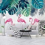 rylryl Papel pintado no tejido 3D Nordic fresh rainforest tela de pared Flamingo garden Ins fondo de pantalla fondo pared dormitorio sala de estar sofá papel tapiz mural-400x280cm