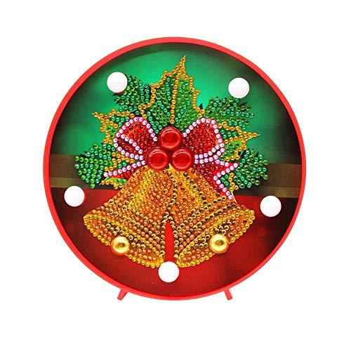 Domybest Weihnachtsglocke DIY 5D Diamond Painting Komplett mit LED-Lampe warmweiß Nachtlicht Kinder Tischlampe batteriebetrieben dekorative Lampe für Schlafzimmer Wohnzimmer