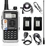 BaoFeng UV-S9 Plus (Upgrade of UV-5R) 8 Watt Powerful V/UHF Dual Band Tri-Power 8/4/1W Portable Ham Two Way Radio with one More 2200mAh Battery,Speaker, Antenna, Program Cable and Earpiece (Silver)