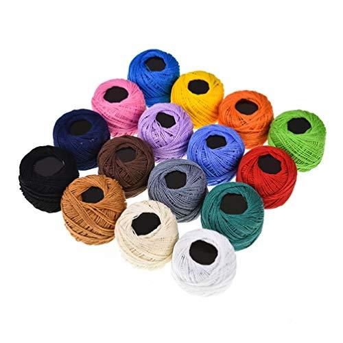 Artibetter, Set di 16 gomitoli di filo per uncinetto, 16 colori, filo di cotone per fai da te, per ricamo, uncinetto e punto croce (tinta unita) Colore tinta unita