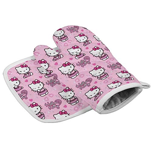 HACVREQ Hello Kitty Loves Oven Mitts Heat Protector Gloves BBQ Insulation Hot Pan Mat Kitchen Cooking Tool Men Women