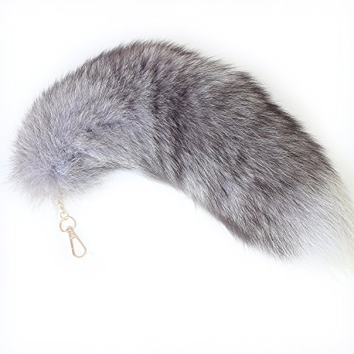 Fosrion Supper Huge and Fluffy Real Fox Tail Fur Halloween Cosplay Toy Handbag Charm Accessory Key Chain Ring Hook Tassels (Blue)
