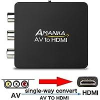 AMANKA Mini Conversor AV a HDMI Convertidor Compuesto RCA CVBS Transformar Señal Audio y Vídeo Adaptador Soporte PAL/NTSC Interruptor, Full HD 3D 1080P, Negro
