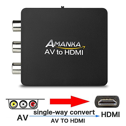 AV auf HDMI Adapter,AMANKA 3RCA zu 1080P HDMI Konverter Composite CVBS Video Audio AV Converter Adapter mit USB Ladekabel für TV DVD PAL PS3 PC VCR VHS NTSC(Schwarz)