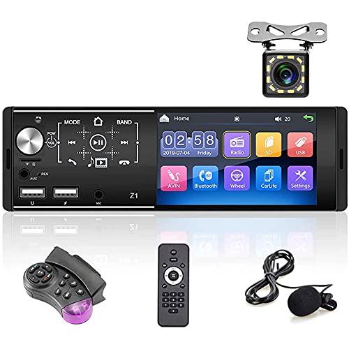 Podofo Autoradio Bluetooth Vivavoce 1 Din Car Stereo con 4,3 pollici HD Touch Screen, FM/AM Radio e MP5/MP3 Player Supporta Doppia Porta USB/AUX/TF + Telecamera di Backup + Controllo del Volante