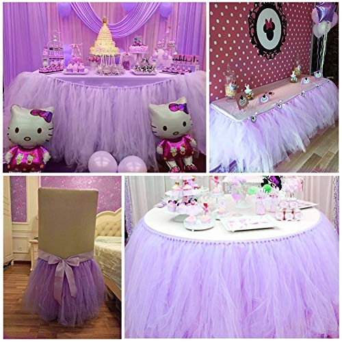 DishyKooker 36 * 31inch Fluffy Tutu Tulle Table Skirt Tablecloth for Party,Wedding,Baby Shower&Home Decoration,Valentine's Day Christmas Light Purple