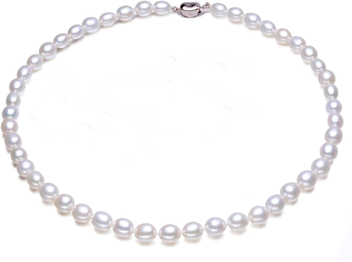 JYX Pearl AA Quality 7-8mm Natural Oval White Freshwater Pearl Necklace 16~64