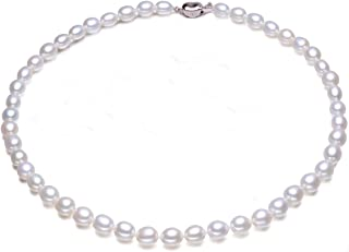 JYX Pearl AA Quality 7-8mm Natural Oval White Freshwater Pearl Necklace 16~64""