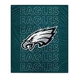 Pegasus Sports NFL Echo Team Wordmark Plush Blanket- Philadelphia Eagles, Team Color, 60x70