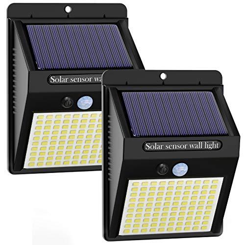 Luce Solare LED Esterno [2 Pezzi], Kolpop Lampade Solari da Giardino 100LED Luci Solari Lampade Sensore di Movimento IP65 Impermeabile 3 Modalità per Giardino, Parete Wireless Risparmio Energetico