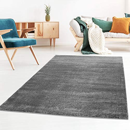 Taracarpet Kurzflor-Designer Uni Teppich extra weich fürs Wohnzimmer, Schlafzimmer, Esszimmer oder Kinderzimmer Gala dunkel-grau 060x090 cm