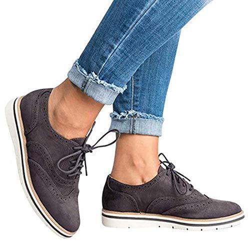 DQS Zapatos Oxford para Mujer, Zapatos Planos, Mocasines con Cordones de otoño, Zapatos de Estilo británico para Mujer, Zapatillas para Mujer, Mocasines, Zapatos Casuales
