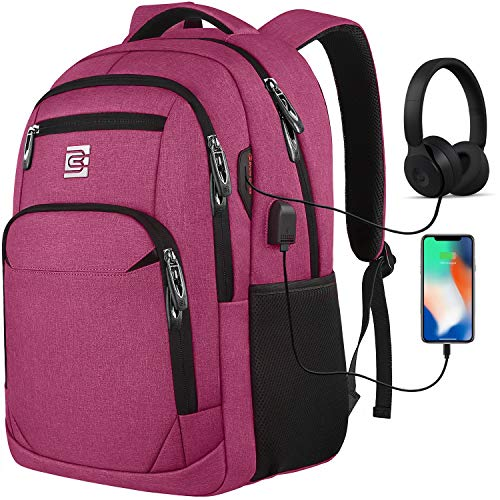Travel Laptop Backpack with USB Charging & Headphone Port, Anti-Theft Business Laptop Backpack with Breathable Padded Shoulder Strap, Water Resistant Computer Rucksack for School/Work/Travel