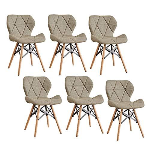 N/Z Living Equipment Esszimmerstühle Retro Set von 6 Holzbeinen Stoff Getreide Leder Oberfläche Bequeme Paed Seat Schmetterling Rückenlehne Modernes Design für Home Office Küche (Farbe: Lila)