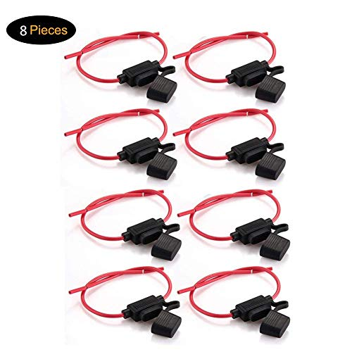 Fuse Holder, Tian 8 Pack Inline Waterproof ATC/ATO 14AWG Wiring Harness 12V 20Amp Automotive Blade Fuse(Medium)