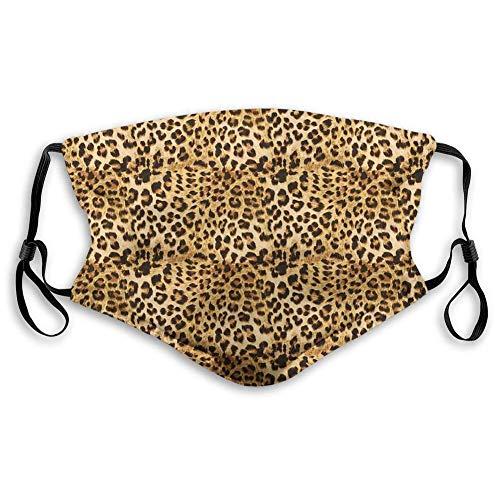 HUIDE Brown,Leopardenmuster Animal Piel Animal Impreso Digital Safari Temed Spotted Pattern Art,Marrón Staubenschutz Nasenschutz,Face Muffle,bufanda