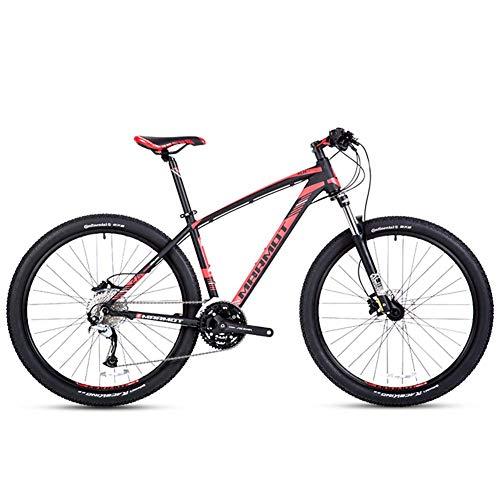 27-Gang-Mountainbikes, Herren Aluminium 27,5 Zoll Hardtail Mountainbike, Gelände Fahrrad mit Doppelscheibenbremse, verstellbarem Sitz, Schwarz FDWFN