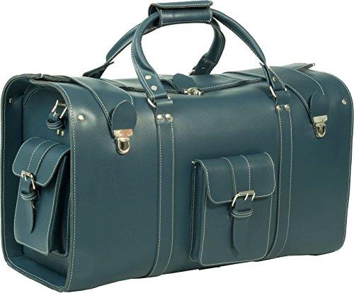 hideonline Vintage en cuir véritable épais Sac fourre-tout/sac/sac cabine avec toile épaisse doublure. Disponible en noir, bleu foncé et rouge noir foncé Large Holdall