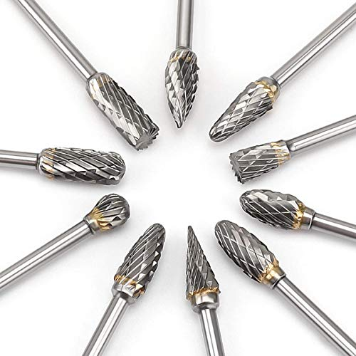 Rokrou Carbide Double Cut Carving Bits for Dremel Rotary Tool 10 Pcs 1/8' Shank 1/4' Head Length Tungsten Steel for Woodworking Metal Engraving New