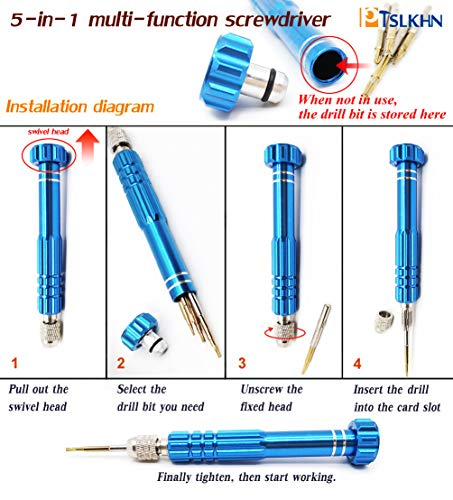 5-in-1 Multifunctional Precision Screw Driver, PTSLKHN Glasses Screwdriver, S2 Steel Magnetic Screwdriver Kit for Electronics, iPhone and other Cellphone, Eyeglass, Jewelry and More