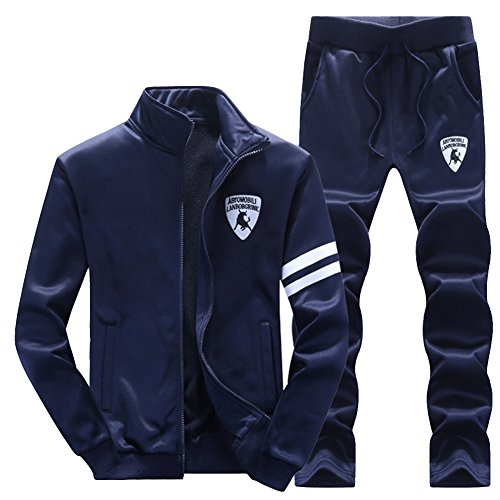Homme Survêtement Vertical Col Zipper Veste Sweat-Shirt Jogging Pantalons Sets 2 Pièces Bleu Foncé M
