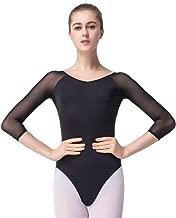 Sprotingbodybuilding Dance Ballet Leotards for Women Girls 3/4 Long Sleeve V-Neck Leotard