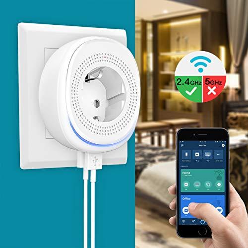 MoKo WLAN Steckdose mit Smart Lampe und 2 USB Anschlüssen, Intelligente Stecker WiFi Plug Kompatibel mit Alexa Echo Google Home Smart Life, APP Fernsteurung Sprachsteuerung, Timing Funktion, ohne Hub