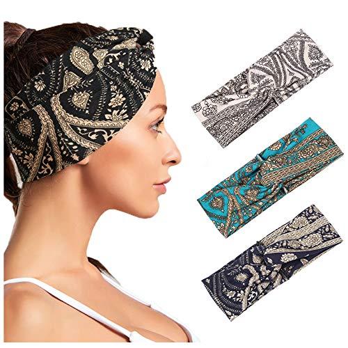 Yean Boho Stirnbänder, breit, kreuzförmig, mit Blumendruck, modisch, gedrehtes Haarband für Damen und Mädchen, 3 Stück