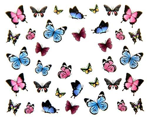 EROSPA® Nailart Nail-Tattoo Schmetterlinge/Butterfly Motiv - Nagel Sticker - Aufkleber - 36 Motive - Selbstklebend