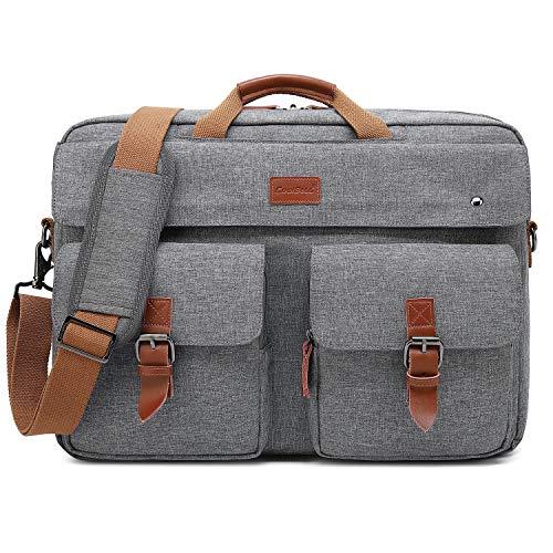 CoolBELL Convertible Messenger Bag Backpack Laptop Shoulder Bag Business Briefcase Leisure Handbag Multi-Functional Travel Bag Fits 17.3 Inch Laptop for Men/Women/College (Grey)
