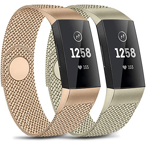 Pack 2 Metal Loop Bands Compatible with Charge 4 / Charge 3 / Charge 3 SE Bands, Stainless Steel Magnetic Replacement Metal Band (Rose Gold + Champagne Gold, Large)