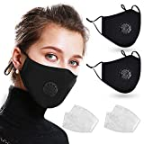 2 Pack Reusable Cotton Cover with Breathing Valve, Feeke Washable Cotton Cloth Adjustable Ear Loops with 4 Pcs Filters for Men and Women - Black
