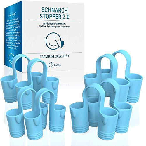 NASOX© Premium Schnarch Stopper [8er Set] - Verbessertes Konzept 2020 - Neuartige Nasenklammer Nasenspreizer gegen Schnarchen Nasendilatator | Anti Schnarch Hilfe und bessere Atmung inkl. Transportbox