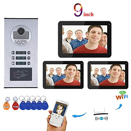 9 inch Record Bedraad WiFi 3 Appartement/Familie Video Deur Telefoon Intercom Systeem RFID IR-Cut HD 1000TVL Camera Deurbel Camera met 6 Knop 3 Monitor