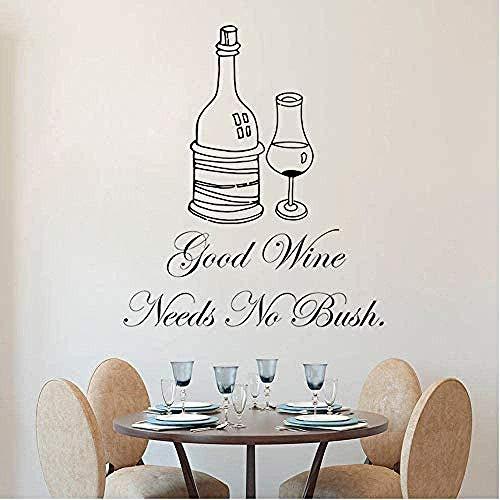 Aufkleber Einzigartig Guter Wein Wandtattoo Bar Wein Studio Dekoration Guter Wein braucht keinen Busch Schriftzug Kunst Wandweine Wandbild 42x48cm PVC Vinyl Wandaufkleber Buchstabe Schwarz