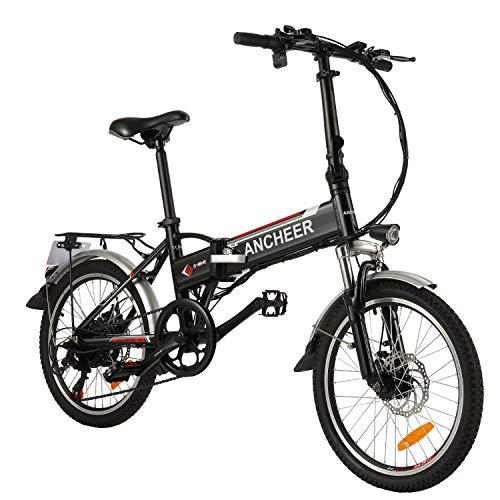 """BIKFUN Bicicleta Eléctrica Plegable, 20"""" E-Bike para Adulto, Batería de Litio-Ion(36V, 8Ah), Motor 250W, 7 Marchas (20"""" Plegable-Negro)"""