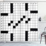 Ambesonne Word Search Puzzle Shower Curtain, Blank Newspaper Style Crossword Puzzle with Numbers in Word Grid, Cloth Fabric Bathroom Decor Set with Hooks, 70' Long, Monochrome