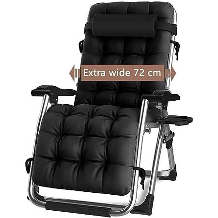 DQCHAIR Chaise de gravité zéro inclinable extérieure avec Porte-gobelet, Chaise de transat réglable Extra-Large pour la Piscine de Jardin avec terrasse, avec Support de Coussins 200kg (Black1)