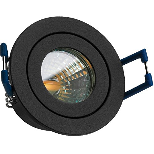 IP44 LED Mini Einbaustrahler Set in Anthrazit Grau mit LED MR11 / GU5.3 Strahler von LEDANDO - 2W - 160lm - warmweiss - 60° Abstrahlwinkel - 20W Ersatz - Bad/Dusche - Terrassendach - Wintergarten