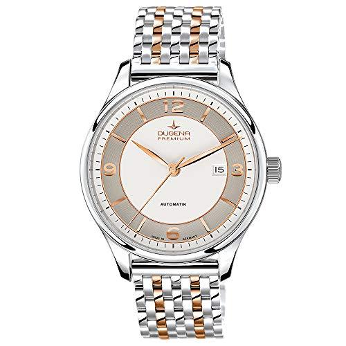 DUGENA Herren-Armbanduhr Epsilon Automatik, Automatikuhrwerk, Edelstahlgehäuse, Saphirglas, Edelstahlarmband, Doppelfaltdrückerschließe, 5 bar (Bicolor)
