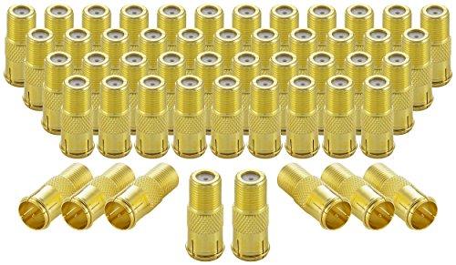 Poppstar 50x SAT F-Quickstecker (Coax Schnellverbinder: F-Buchse auf F-Stecker) Kupplung für Koaxialkabel - Antennenkabel, vergoldet