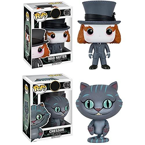 Funko Pop 2Pcs / Alicia En El País De Las Maravillas Kawaii Q Versión Anime Figura Mad Hat / Cheshire Cat Figuras De Acción De Vinilo En Caja Juguete 10Cm, Colección De Decoración De Juguetes Para