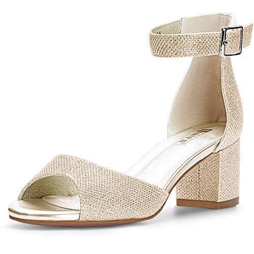 IDIFU Women's Candie Low Block Heels Sandals Peep Toe Chunky Ankle Strap Wedding Dress Shoes (6.5 M US, Gold Glitter)