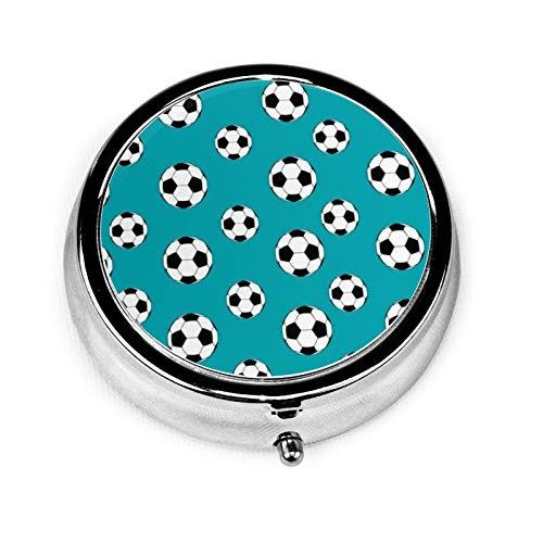 Bluesky-Fußball-Pillendose mit 3 Fächern, Metall, Medikamentendose, Vitamin-Organizer, dekorative Box für Reisen im Freien