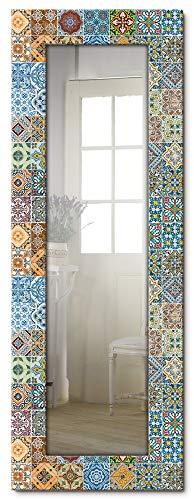 Artland Ganzkörperspiegel Holzrahmen zum Aufhängen Wandspiegel 50x140 cm Design Spiegel Mosaik Toskana Mediterran Keramikfliesen Bunt T9OM
