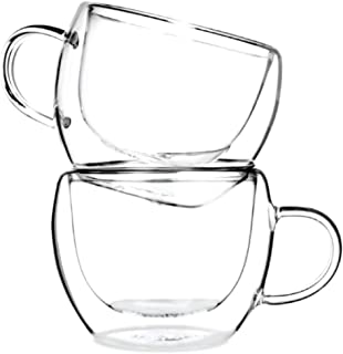 Tealyra - UNIVERSE 8-ounce - Set of 2 - Double Wall Glasses With Handle - Espresso Coffee - Tea - Cappuccino - Clear Cups - Heatproof Insulating - Keeps Beverages Hot - 230ml