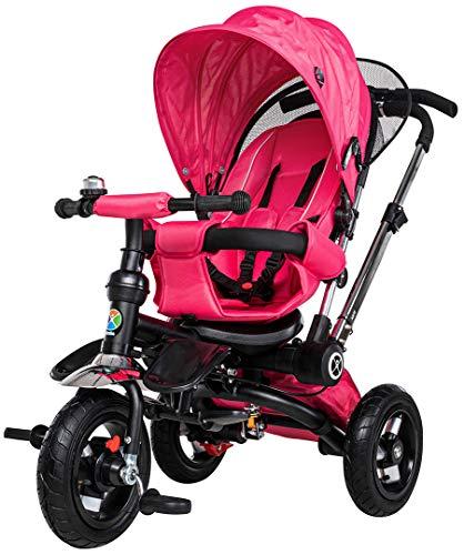 Miweba Kinderdreirad Schieber 7 in 1 Kinderwagen - Freilauf - Faltbar - Luftreifen - Heckfederung - Laufrad - Dreirad - Schubstange - Ab 1 Jahr (Pink)